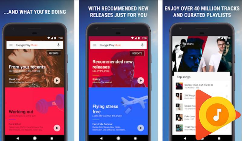 Design de material do Google Play Music