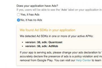 A Google Play Store notificará quais aplicativos têm anúncios