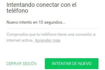 Solução de problemas Tentando conectar-se ao telefone da Web WhatsApp