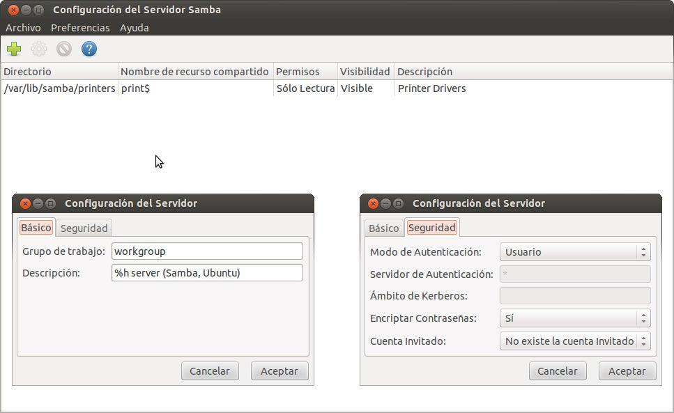 Opções de configuração do Samba