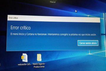 Aprenda outra solução para o erro crítico do Windows 10 Start Menu e Cortana