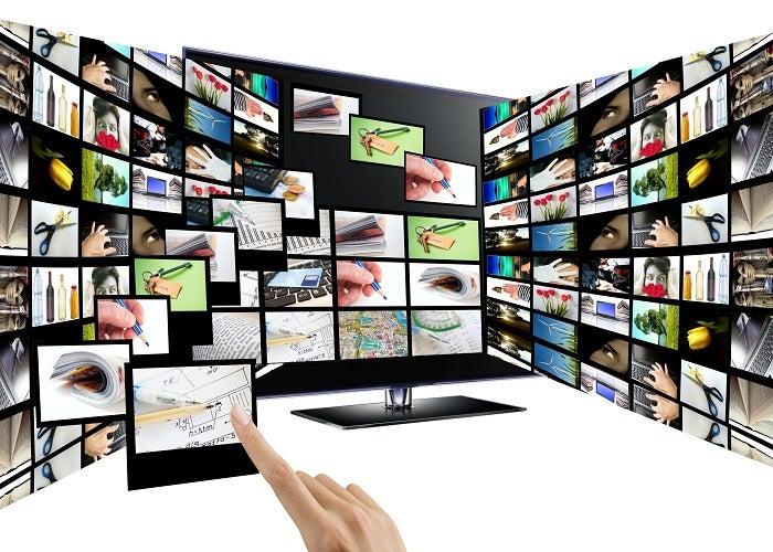 3D interagem conceito de televisão