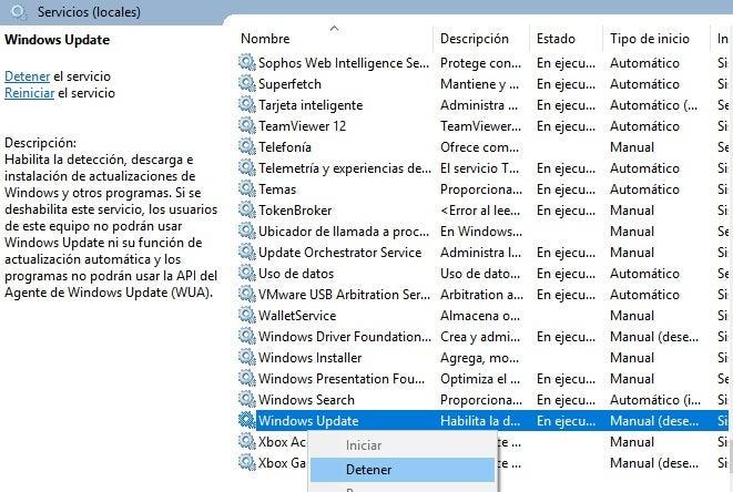 Parada do Windows Update