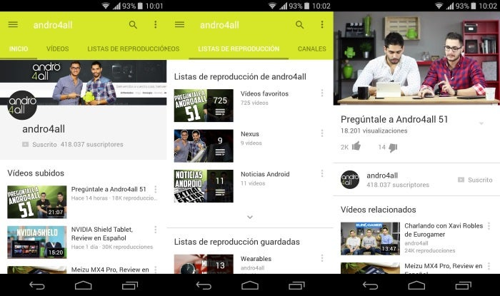 Capturas de tela do YouTube com Material Design