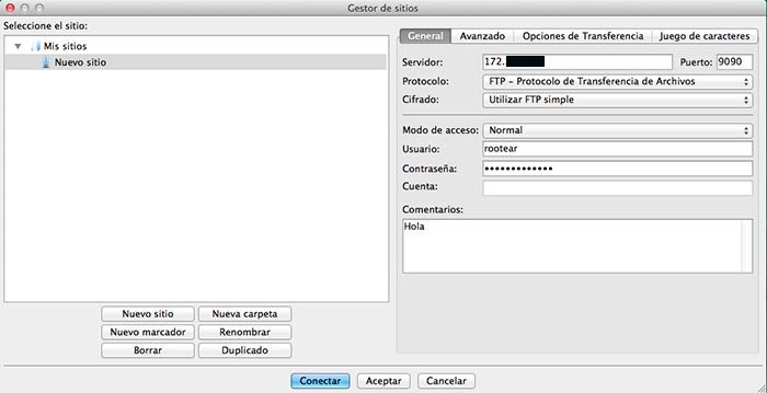 Configuração do servidor no FileZilla