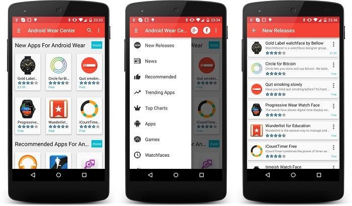 Capturas de tela do Android Wear Center