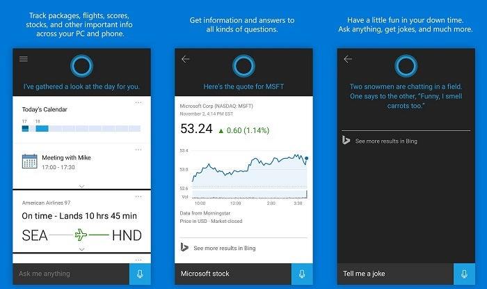 Imagens de Cortana Android