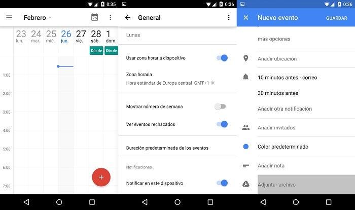 Capturas de tela do Google Calendar 5.1