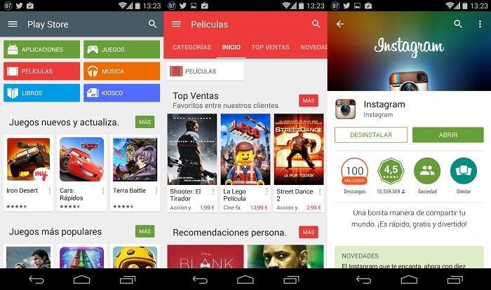 Interface de design de material do Google Play