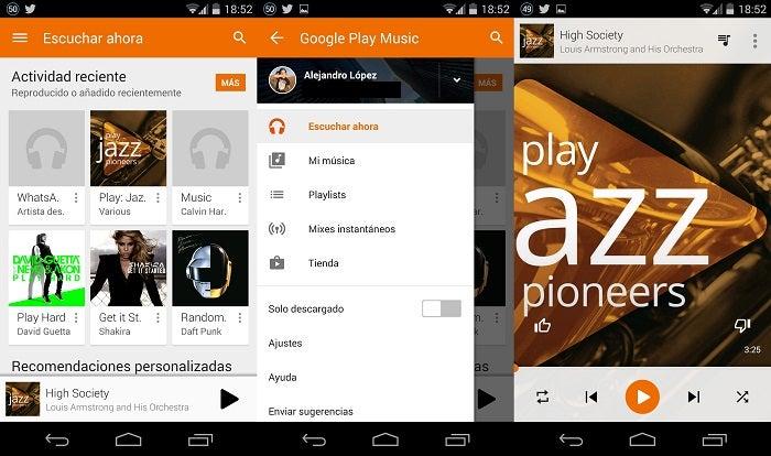 Google Music com design de materiais