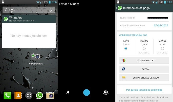 Novos widgets e câmera do WhatsApp