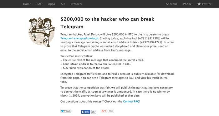 Concurso de segurança de telegrama