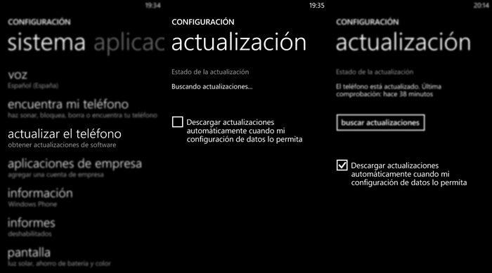 Seção para atualizar o telefone em Configurações