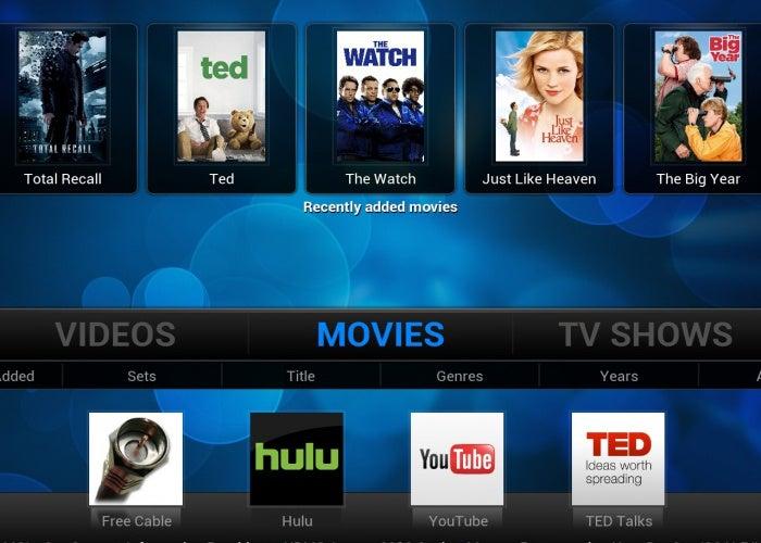 O plugin pelisalacarta mostrando uma lista de filmes