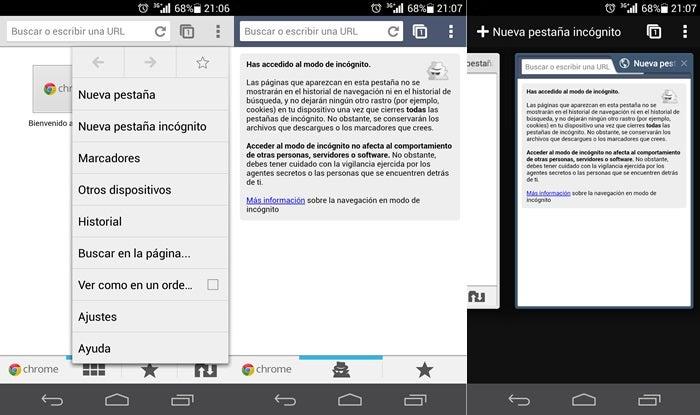O modo de navegação anônima é capturado no Google Chrome para Android