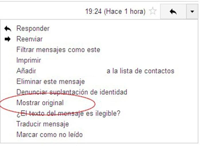 selecione a opção no gmail