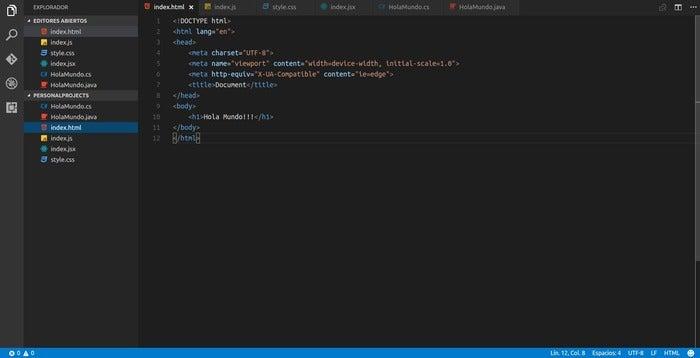 Código do Visual Studio html