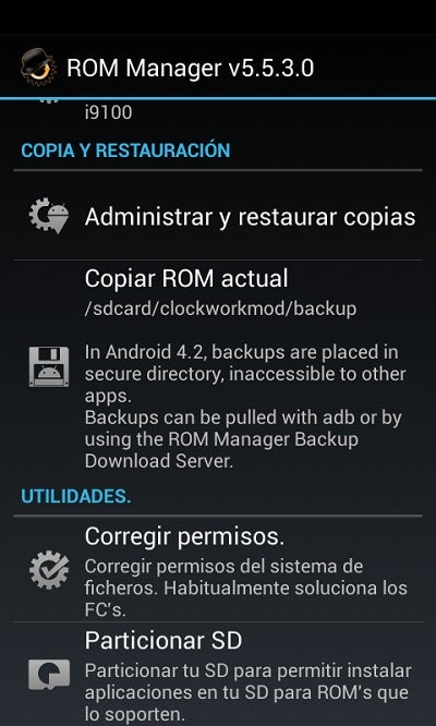 Interface do ROM Manager